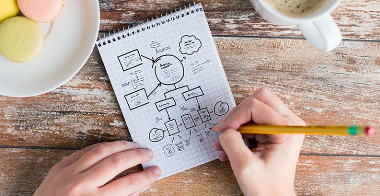 تصویر دست در حال نوشتن و طراحی